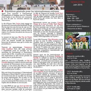 Hemeryck Godart Stables - Newsletter - Juin 2016
