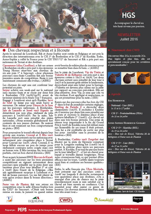 Newsletter Juillet 2016 Hemeryck Godart stables